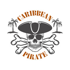 Caribbean pirate. Emblem with corsair skull and crossbones. Design element for logo, label, design.