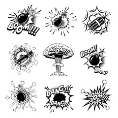 Set of comic style bombs, dynamite, grenade. Design element for poster, card, emblem, print, flyer, banner.