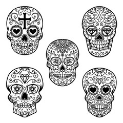 Set of sugar skull isolated on white background. Day of the dead. Dia de los muertos. Design element for poster, card, banner, print.