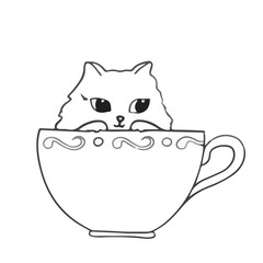 Cute cat sitting in the cup on white background Hand drawn outlined vector