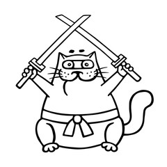 Fat ninja cat with two crossed swords. Vector illustration.