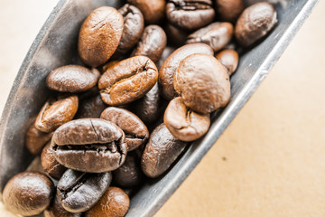 macro of coffee beans with metal scoop on rustic paper background