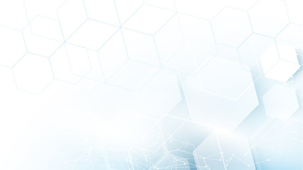 Wall Mural - Abstract blue hexagons Futuristic technology concept background