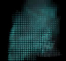 Blue pixel grid fractal on a black background.
