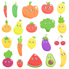 Set of cute cartoon fruits and vegetables. Vector flat illustration.