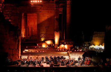 Lebanese musicians perform at the opening of Baalbek International Festival, in Baalbek