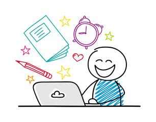 Happy stickman working on laptop - school concept. Vector.