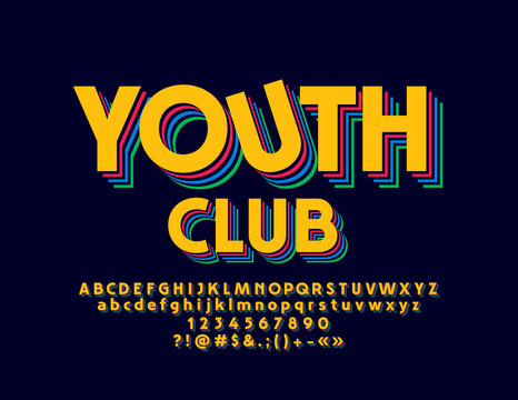 Vector Colorful Party Club Font. Bright Abstract Pattern Alphabet Letters, Numbers and Symbols