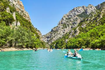 Obraz St Croix Lake, Les Gorges du Verdon with Tourists in kayaks, boa - fototapety do salonu