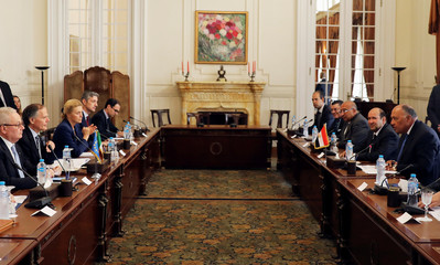 Egyptian Foreign Minister Sameh Shoukry meets with his Italian counterpart Enzo Moavero Milanesi to discuss bilateral relationship between the two countries, in Cairo