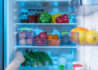 Person reaching inside a fridge for fresh food