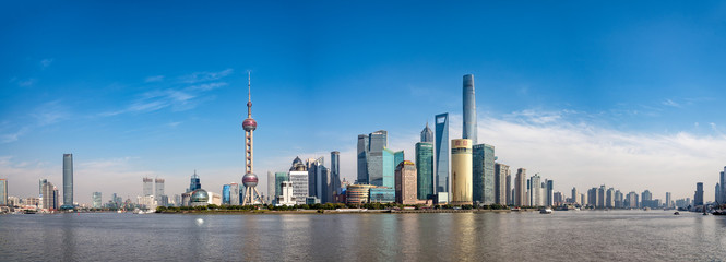 Photo sur Plexiglas Shanghai Wide panorama of Cityscape of Shanghai