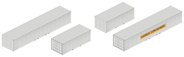 Cargo container vector mockup on white background with side, front, back, top view. All elements in the groups on separate layers for easy editing and recolor