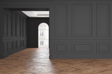 Empty modern classic black interior room.
