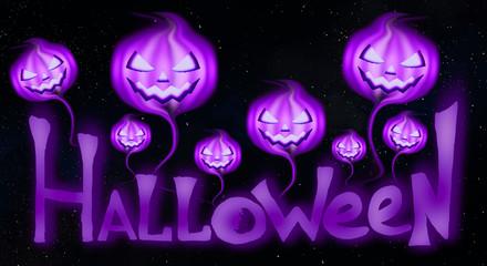Halloween pumpkins on a dark night sky, starry sky. Inscription Halloween, party.