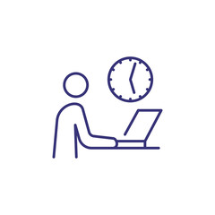 Office day line icon. Clock and man using laptop. Time schedule concept. Can be used for topics like office job, business, modern technology