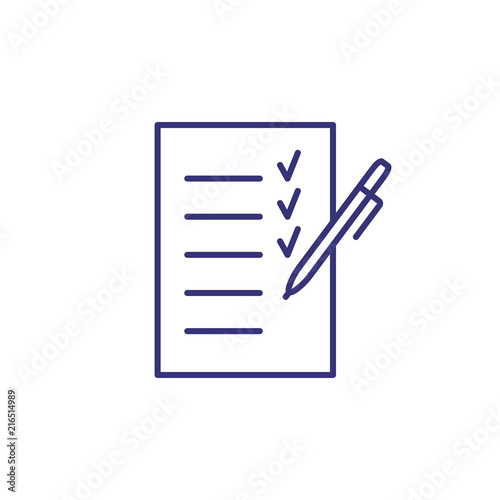 Planning line icon  Paper, pen, list, checklist, tick  Listing