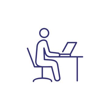 Work on computer line icon. Man sitting at table and using laptop. Workplace concept. Can be used for topics like office job, business, modern technology