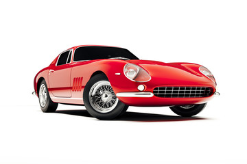 3d render of beautiful red sport car