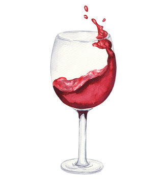 Hand drawn watercolor glass wine with liquid splash isolated on white background. Drink illustration.