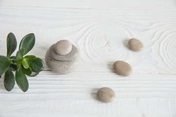 Pyramids of white zen stones with green leaves on white background. Concept of harmony, balance and meditation, spa, massage, relax