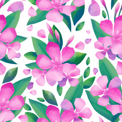 Pastel colored pattern of oleander flowers