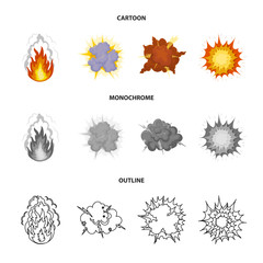 Flame, sparks, hydrogen fragments, atomic or gas explosion, thunderstorm, solar explosion. Explosions set collection icons in cartoon,outline,monochrome style vector symbol stock illustration web.