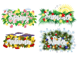 Four seasons word banners, vector illustration