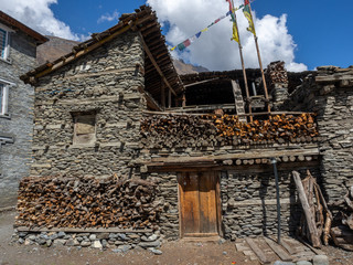 Old houses in Pisang in Manag Valley on Annapurna Circuit
