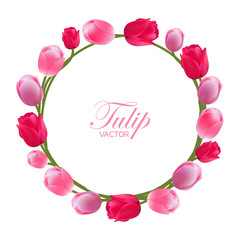 Vector illustration of a tulip wreath with a white background.