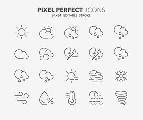 Fototapeta weather thin line icons 1