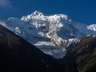 Mountain Skyline with Snow on Annapurna Circuit