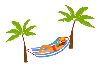 woman lying in hammock on the beach, reading a book, relaxing isolated vector illustration