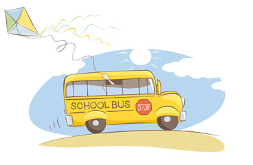"Cheerful school bus / Vector illustration on a theme ""back to school"""