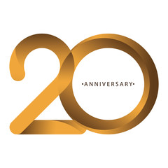 Celebrating, anniversary of number 20th year anniversary, birthday. Luxury duo tone gold brown for invitation card, backdrop, label, logo , advertising or stationary