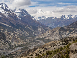 View on the Annapurna Mountain Range from Manang Valley on Annapruna Circuit