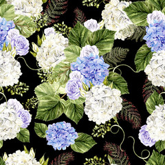 Beautiful  watercolor pattern with roses and hudrangea flowers.
