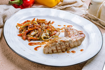 grilled tuna fillet with vegetables