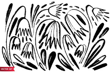 Vector set of ink drawing wild plants, herbs and flowers, monochrome artistic botanical illustration, isolated floral elements, hand drawn illustration.