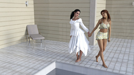 Illustration of two women holding hands next to a swimming pool.