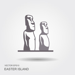 Easter island statues vector icon illustrarion
