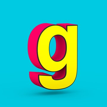 Superhero red and yellow letter G lowercase isolated on blue background.