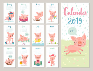 Wall Mural - Calendar 2019. Cute monthly calendar with cheerful piggies. Hand drawn style characters.
