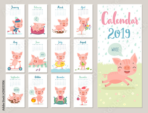 Wall mural Calendar 2019. Cute monthly calendar with cheerful piggies. Hand drawn style characters.