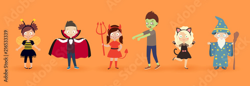Wall mural Kids in halloween costumes. Funny and cute carnival kids set.
