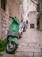 Scooter and narrow streets of Croatia