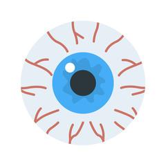 Human eyeball color vector icon. Flat design