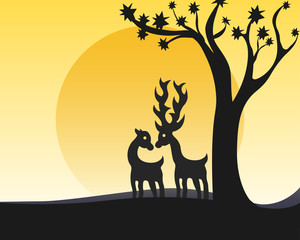 silhouettes of deer in the forest, sunset background.
