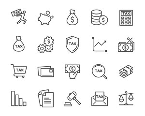 set of tax vector line icons, such as mail, payment, money, legal and more