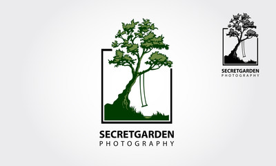 Secret Garden Photography Logo Template. Photo Nature is an images of camera and leaves around it lens.